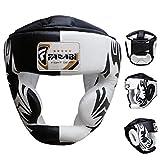 Boxe capo guardia del casco protettore di addestramento di MMA Pro Full Face, Protezione guancia Copricapo vera pelle (L)
