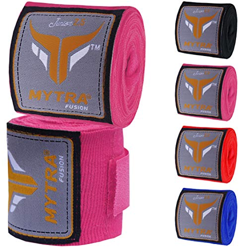 Mytra Fusion Kids Boxing Hand Wraps 2.5 Meters Junior Hand Wraps Boxing Hand Wraps (Rot) -