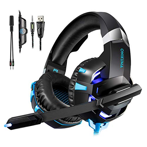Willnorn K2 Pro Gaming Headset für PS4 PC Xbox One, LED Licht Crystal Clarity Sound Professional LED Kopfhörer mit Mikrofon