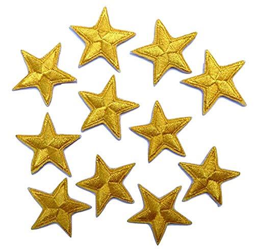 Packung mit 10 Gelb stickte Eisen auf oder nähen auf Sterne-Patch (Auf Fußball-eisen Flecken)