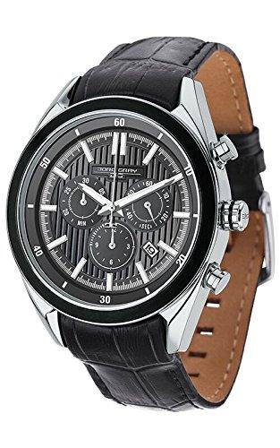 Jorg Gray-Orologio da uomo al quarzo con Display analogico, colore: grigio con cronografo e cinturino in pelle nera, JG 6900-23