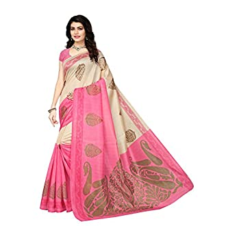 Mrinalika Fashion Art Silk Saree With Blouse Piece (_Pink_Free Size)