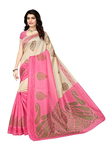 Mrinalika Fashion Women's Art Silk Saree With Blouse Piece (Pink)