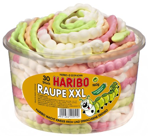 Haribo Raupe XXL, 3er Pack (3 x 960 g Dose)