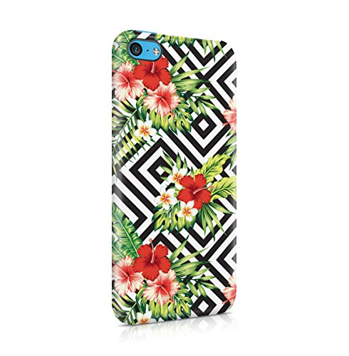 Tropical Floral Flowers Aloha Hawaii Exotic Jungle Pattern Print Apple iPhone 5C Snap-On Hard Plastic Protective Shell Case Cover Custodia Red Hibiscus