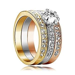 Yoursfs gioielli Mirco Pave cristallo austriaco Trinity strass Wedding Band set anello placcato in oro di 3pcs Halo anelli 18K (gialla rosa bianca)