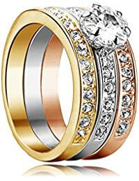 Yoursfs anillos 3-en-1 de Circon para mujeres