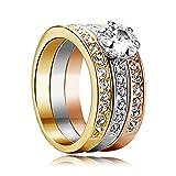 Acquista Yoursfs 18k, placcato oro rosa, 0,5 CT di zirconi cubici di anello di matrimonio di forma di tre-un Borsa