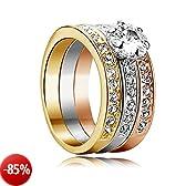 Yoursfs 18k, placcato oro rosa, 0,5 CT di zirconi cubici di anello di matrimonio di forma di tre-un Borsa