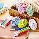 Gudotra-01 Kit 10 Uova Fai da Te con 40 Penne Colorate Gadget Pensierino Regalini Dopo Festa Fine Compleanno Natale Comunione Pasqua Bambini