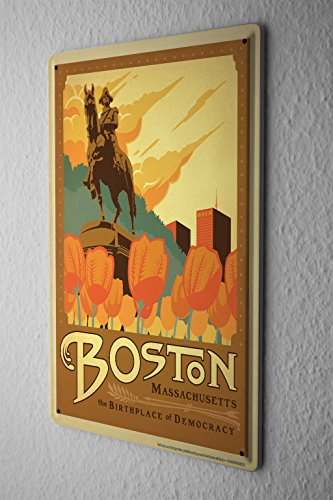 Blechschild Stadt Deko Boston Massachusetts Tulpen George Washington Statue Metallschild 20X30 cm (Boston-statue)