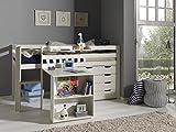 'Autobett picohsbuks14Pino Hochbett mit Schreibtisch und Kommode 4Schubladen Kiefer massiv weiß