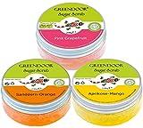 Greendoor Körperpeeling SET Sugar Scrub FRUCHT, 3 fruchtige Zucker Peelings SPARPREIS, Duschpeeling ohne Mikroplastik 3 x 230g, vegane Naturkosmetik, natürliches Haut-Peeling, Body-Scrub aus der Natur