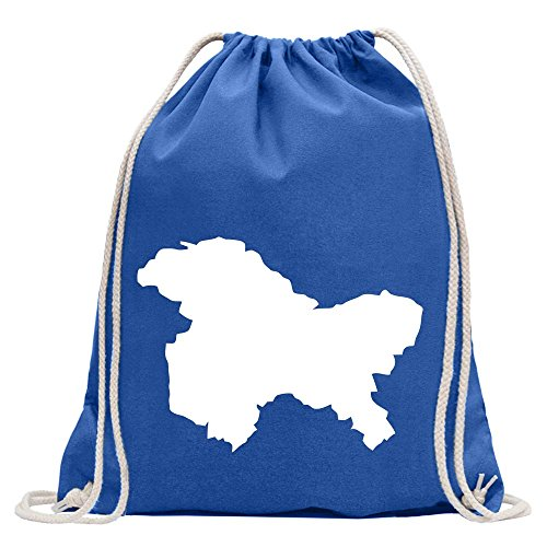 Kiwistar Kaschmir - Himalaya Turnbeutel Fun Rucksack Sport Beutel Gymsack Baumwolle mit Ziehgurt (Kaschmir Royal Blau)