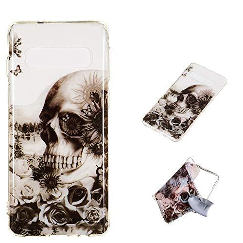 CoverKingz Schutzhülle Handyhülle für Samsung Galaxy S10 Handy Hülle, Silikon Case, Motiv Totenkopf rechts