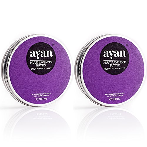 AYAN Naturkosmetik Body Butter Lavendel 2er-Set ✔ Bodylotion Pflegecreme für trockene Haut ✔ BIO Sheabutter Kokosöl Bienenwachs ✔ 2x100ml -