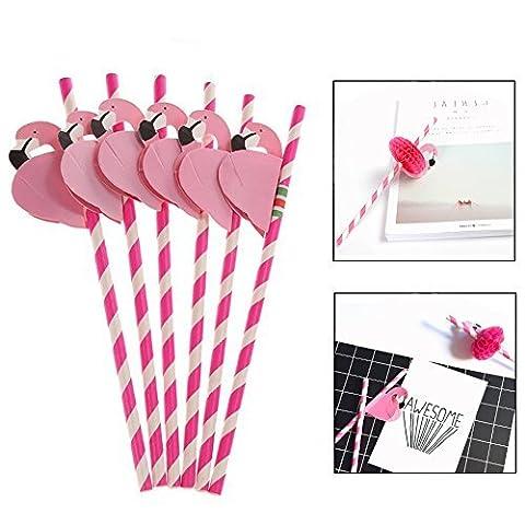 Itian 50pcs / set Flamingo papier nid d'abeille / plastique pour Straws de fête d'anniversaire de mariage Célébration, Rouge
