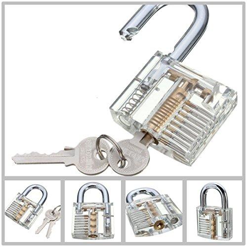 Ojah®-New Cutaway transparent Vorhängeschloss Schloss für Locksmith Praxis Training Skill Pick-Set-siehe durch-Pick a Lock-2Schlüssel inklusive-Lockpicking Trainer
