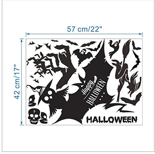 Yirenfeng Happy Halloween Hexe Geist Fledermaus Katze Wandaufkleber Für Wohnzimmer Fenster Glas Dekor Home Vinyl Lächeln Gesicht Wandbild Wandkunst Aufkleber
