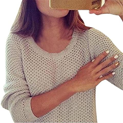 Fashion Sweaters,Yannerr Women Hollow out Long Sleeve Loose Sweater Knitted Sweater (M)