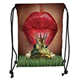 Drawstring Backpacks Bags,Animal Decor,Lady Finds Her Frog Prince Charming Soul Mate in Love Romance Fairy Tale Art Print,Green Red Yellow Soft Satin,5 Liter Capacity,Adjustable St