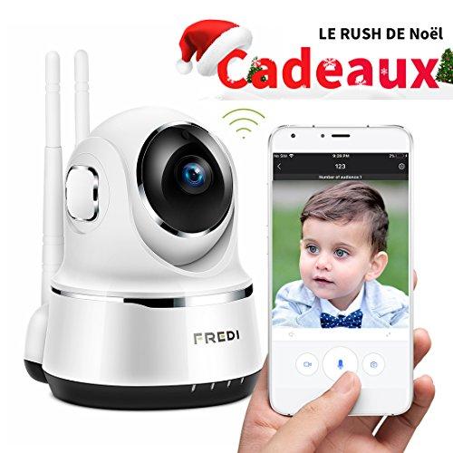 FREDI Caméra Sans Fil 720P IP Caméra WiFi Surveillance Vision à Distance de Jour et Nocturne Caméra Sécurité Panoramique Moniteur Bébé Interphone Audio Bidirectionnel