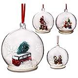 Elizabeth Claus Handmade 9cm Sfera Palline di Natale in Vetro, a Forma di 4Set, Winter Clear Christmas Tree Ball Decorazioni
