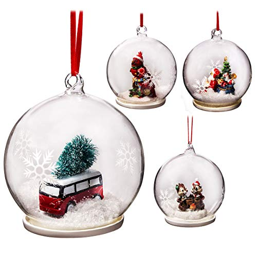 Elizabeth claus handmade 9 cm sfera palline di natale in vetro, a forma di 4 set, winter clear christmas tree ball decorazioni