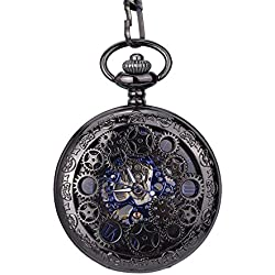 Mudder Steampunk Blue Hands Scale Mechanical Skeleton Pendant Pocket Watch