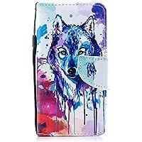 Herbests Hülle Huawei P20 Pro Handytasche Handyhülle Flip Case Tasche Schutzhülle Luxus Vintage Bunt Brieftasche Hülle Ledertasche Dünn Klappbar Lederhülle Bookstyle Klapphülle,Wolf