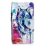 Kompatibel mit Hülle Galaxy S6 Handytasche Handyhülle Flip Case Tasche Schutzhülle Luxus Vintage Bunt Brieftasche Hülle Ledertasche Dünn Klappbar Lederhülle Bookstyle Klapphülle,Wolf