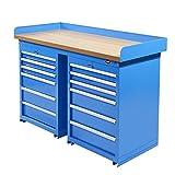 Werkbank PRO mit Arbeitsplatte aus MDF und 12 Schubladen - Werktisch, Arbeitstisch (150 x 64 cm, Blau)