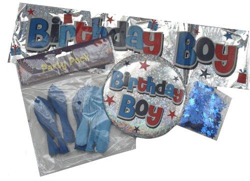 Geburtstag, Banner, Ballons, Jumbo-Button und Konfetti