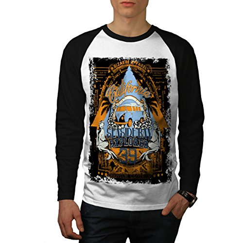 Strand Strand Kalifornien Bucht Kleider Herren L Baseball lange Ärmel T-Shirt | Wellcoda (Hawaii-shirt Bucht)