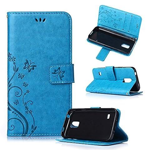 Beiuns Étui en Simili cuir pour Samsung Galaxy S5 Mini Housse Coque - R149 bleu (non compatible avec Samsung Galaxy