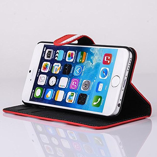 """inShang Hülle für Apple iPhone 6 iPhone 6S 4.7 inch iPhone6 iPhone6S 4.7"""", Cover Mit Modisch Klickschnalle + Errichten-in der Tasche + Zebra Stripe, Edles PU Leder Tasche Skins Etui Schutzhülle Stände stripe red"""