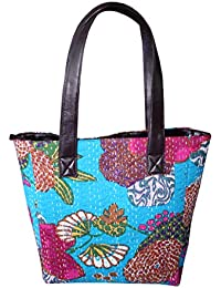 Silkgram Textile Luxury & Soft Cotton With Faux Leather Beautiful Floral Design Print Multi Colour Bag For Women