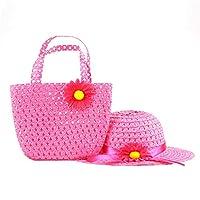 SAMGU Girls Kids Beach Hats Bags Flower Straw Hat Cap Tote Handbag Bag Suit Children Summer Sun Hat