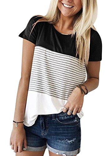 Yidarton Damen Sommer T-Shirt Casual Streifen Patchwork Kurzarm Oberteil Tops Bluse Shirt (Small, Schwarz)