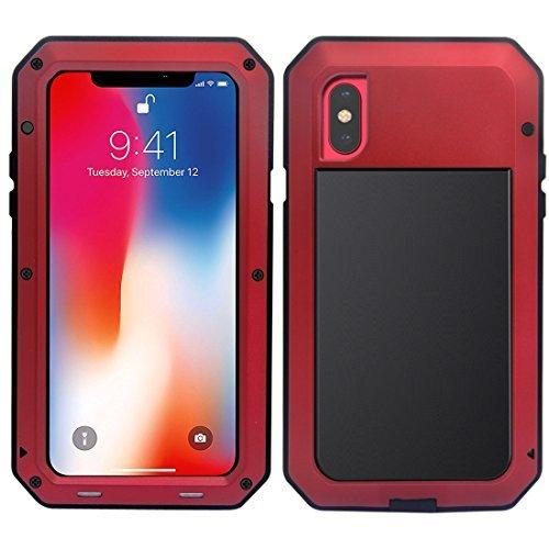 MRSMR iPhone X Funda, Apple iPhone 10 Protección de 360 Grados Impermeable Heavy Duty Cáscara, A Prueba de Choques con Protector de Pantalla Incorporado Caso Carcasa para iPhone X Rojo