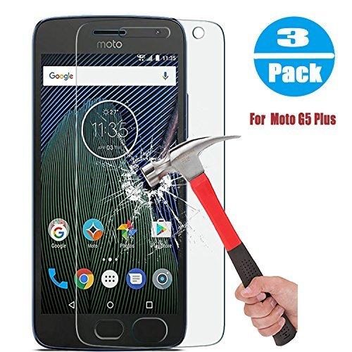 [3-Pack] Moto G5Plus Displayschutzfolie, VUV Anti-Fingerprint HD-Clear [Kratzfest] [blasenfrei] [Ultra] Sekuritglas mit Härtegrad 9H Displayschutzfolie für Moto G5Plus, 3 Stück Motorola Screen 3