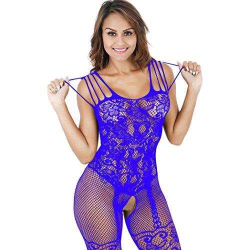 Nylon-teddys (Damen Bodysuit, Hmeng Frauen Aushöhlen Bodystocking Lace Flower Babydoll Teddy Lingerie Erotik Crotchless Nachtwäsche Unterwäsche (Freie Größe, Blau))