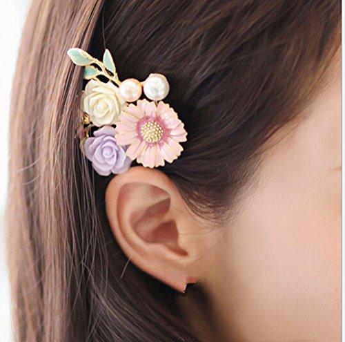 cuhair (TM) femmes fille 1 perle fleur avec feuilles Conception Barrettes Clip Broches cheveux accessoires