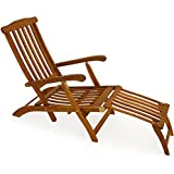 Chaise longue transat pliable en bois d 39 acacia bain de for Transat en bois pliable