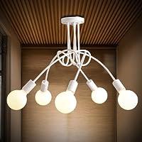 KHSKX Lampada da soffitto,E27 5 Coreano soggiorno sala da pranzo Camera da letto soffitto luci moderno illuminazione a LED il nordic art semplici lampade in ferro battuto e 700*400mm , nero