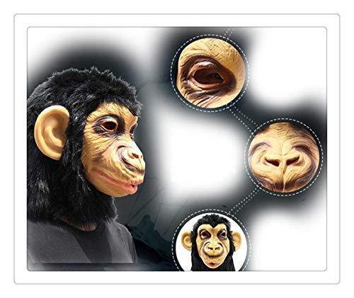 Z-one 1 Lustige Schimpanse, Affe, Plüschhaar, Halloween, Latex Tierkopfmaske für Kostümparty