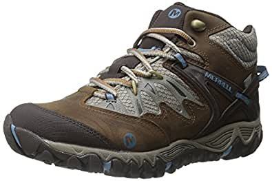 Merrell Women's All Out Blaze Mid Waterproof Hiking Boot,Brown Sugar/Blue Heaven,9 M US