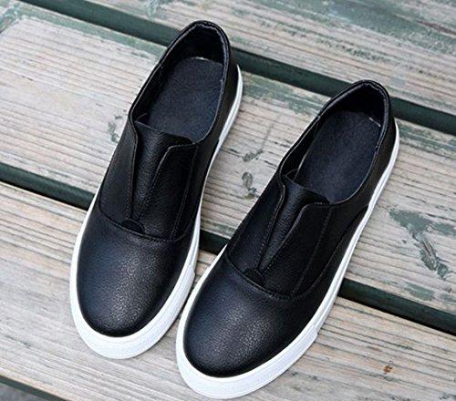 JRenok Basket Femme Chaussures de Sport Mode Cuir Sneakers Casual Résistant à LUsure Antidérapante 35-40 Noir