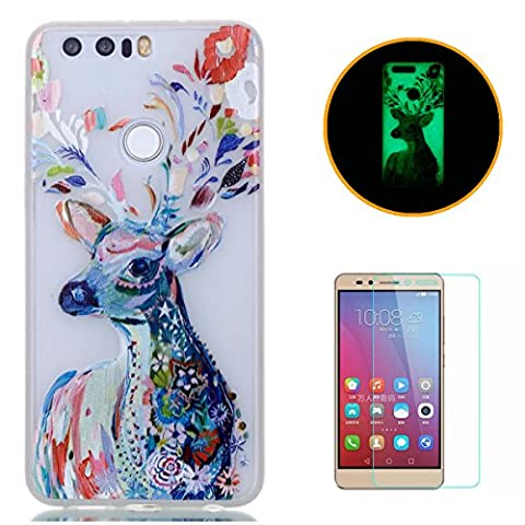 HUAWEI Honor 8 Silicone Gel Case [with Free Screen Protector],KaseHom Luminous Effect Noctilucent Green Glow in the Dark Cool Fashion Colourful Pattern Design Transparent Ultra Slim Thin Matte Clear Shockproof Soft Rubber Bumper TPU Protective Case Cover Skin Shell for HUAWEI Honor 8 - Watercolor Deer