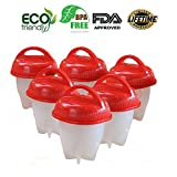 Egg Cooking Egg&-&POCHEUSE Easy Food Grade Silica Gel&-&Boil Eggs Without the Shell Egg Cooker Egg Cup&-&Set of 6 red